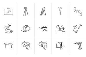 Construction hand drawn sketch icon set.