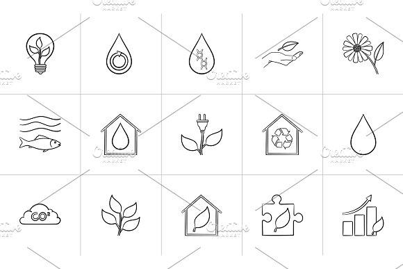 Ecology Hand Drawn Sketch Icon Set