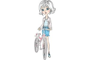 Vector cute girl with bicycle