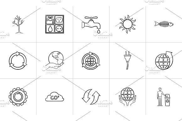Ecology Hand Drawn Sketch Icon Set