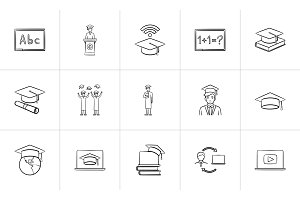 Education hand drawn sketch icon set.