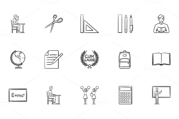 Education Hand Drawn Sketch Icon Set