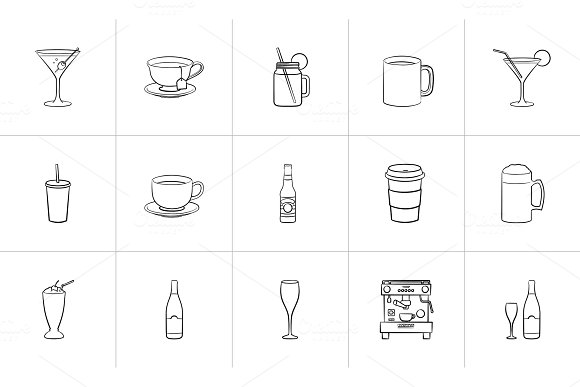 Drink Hand Drawn Sketch Icon Set