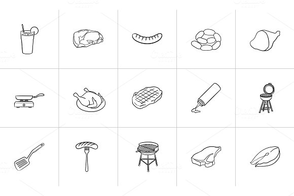 Food and drink hand drawn sketch icon set. in Illustrations