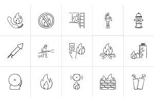 Fire hand drawn sketch icon set.