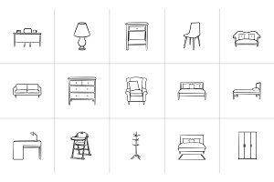 Furniture hand drawn sketch icon set.