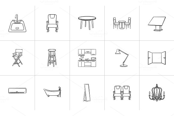 Furniture Hand Drawn Sketch Icon Set