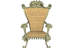 Vector golden royal throne