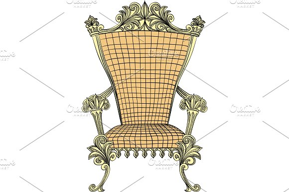 Vector Golden Royal Throne