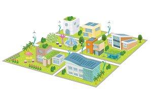 Go Green City Vector Illustration