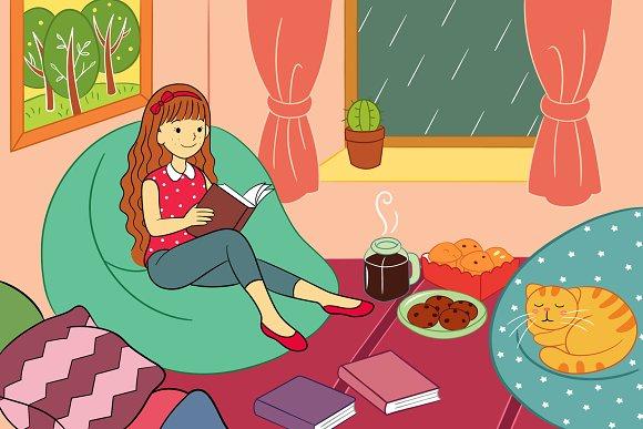 Enjoy Reading At Rainy Day