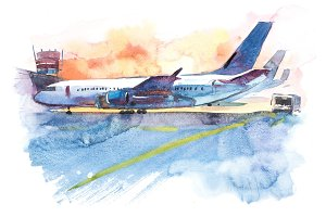 Airplane is at the airport on the take-off field. Watercolor illustration