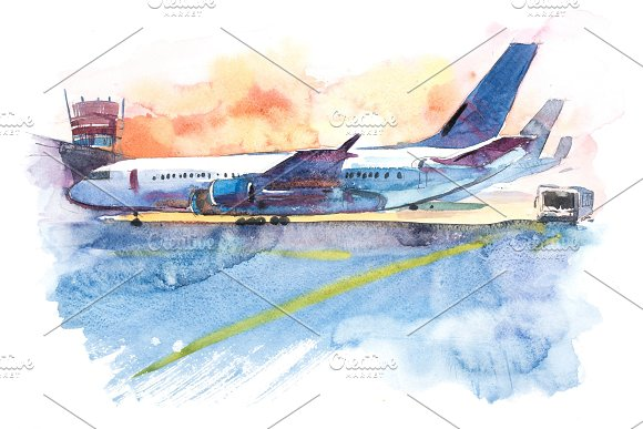 Airplane Is At The Airport On The Take-off Field Watercolor Illustration