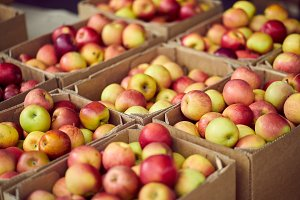 Box full of apples