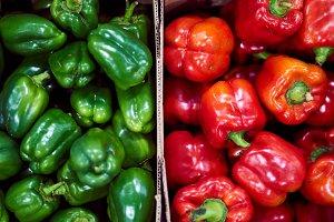 Box full of bell peppers