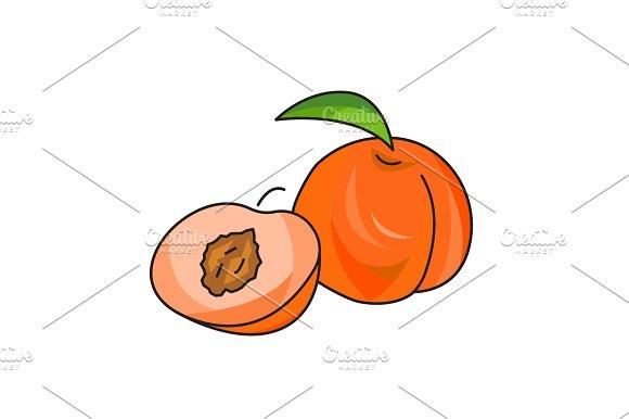 Peach Vector Icon On A White
