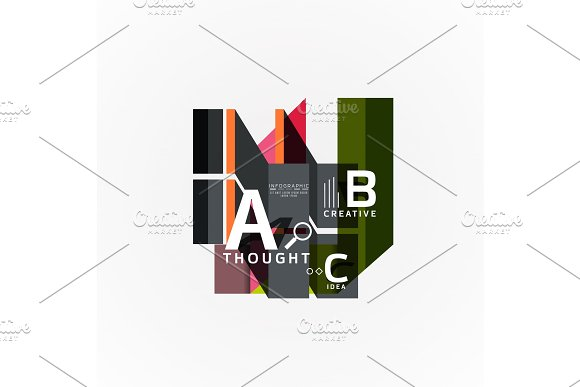 Abstract Geometric Option Infographic Banners A B C Steps Process