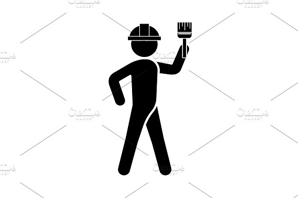 Builder In A Helmet With A Brush