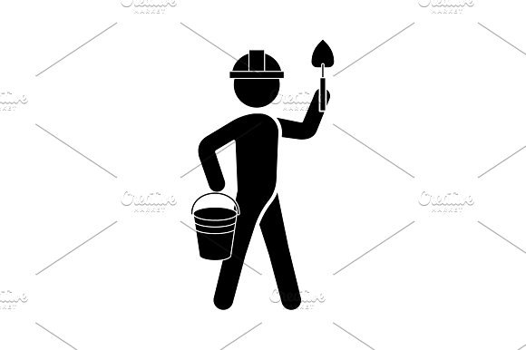 Builder In A Helmet With A Trowel