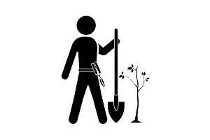 A gardener with a shovel