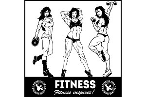 Girls with dumbbells - beautiful fitness girls doing exercises with dumbbels, vector set