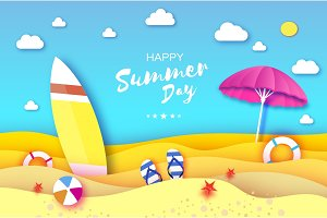 Surfboard. Pink parasol - umbrella in paper cut style. Origami sea and beach with lifebuoy. Sport ball game. Flipflops shoes. Vacation and travel concept. Summertime.