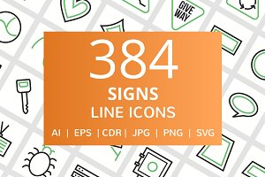 384 Signs Line Green & Black Icons