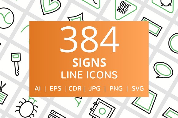 384 Signs Line Green Black Icons