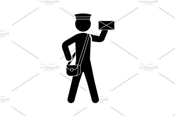 Postman Icon Vector Black On White