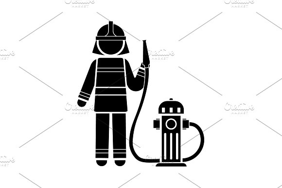Firefighter Icon Vector Black