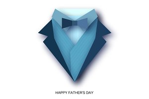 Happy Fathers Day Greeting Card. Mans jacket in paper cut style. Origami Tuxedo. Weddind suit with bow tie.