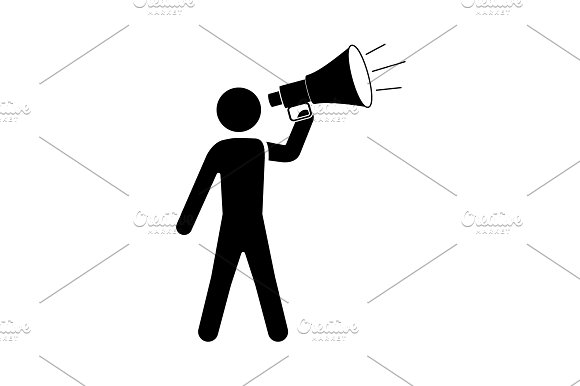 A Man With A Megaphone Icon Black