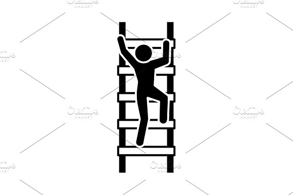 A Man Climbs The Stairs Icon Black
