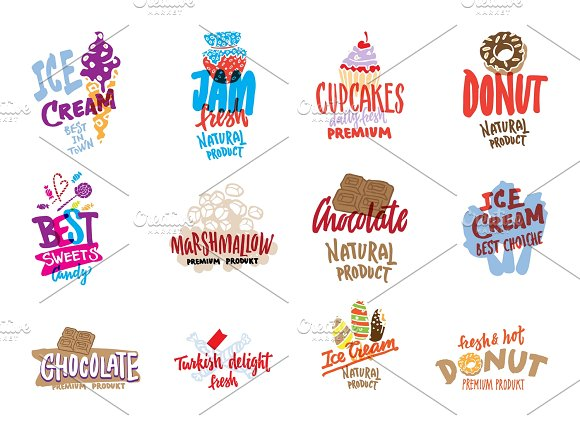 Sketch Candies And Sweets Logos Set