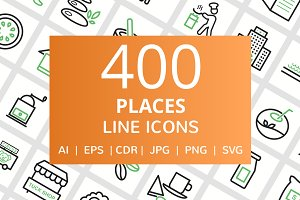 400 Places Line Green & Black Icons