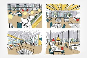Coworking, open space, workspace