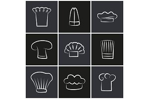 Variety Chef Hats, Set of White Cook Headwear Logo