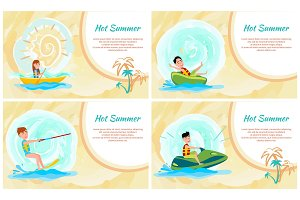 Hot Summer Banner, Colorful Vector Illustration