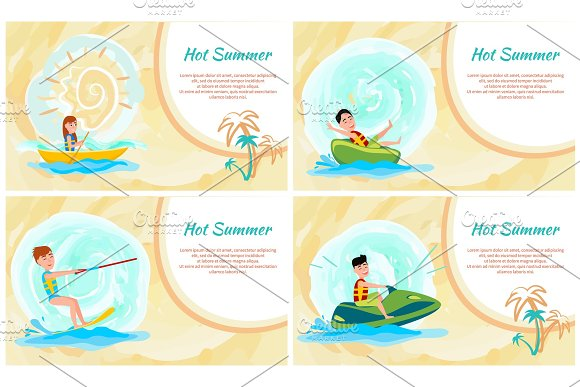 Hot Summer Banner Colorful Vector Illustration