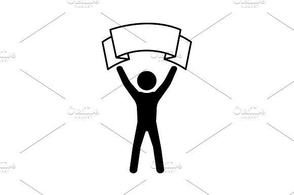 Man With Transparency Icon Poster