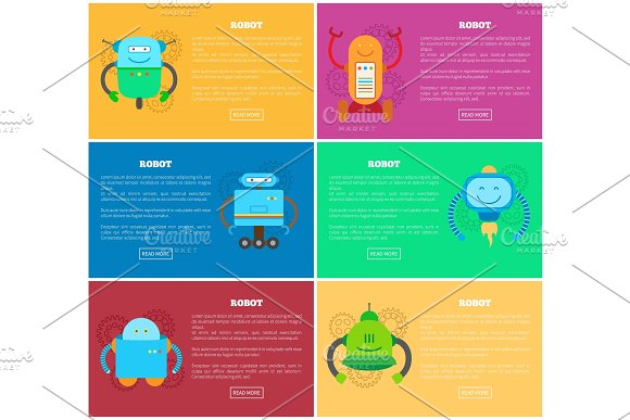 Robot And Pages Web Collection Vector Illustration