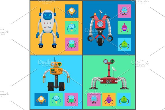 Robot Mechanisms Collection Vector Illustration