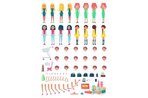 Shopaholic Girls Constructor with Shopping Bags