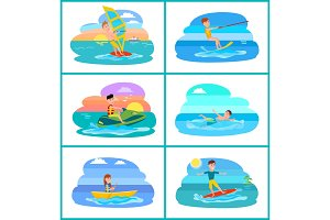 Rafting and Summer Sport Set Vector Illustration