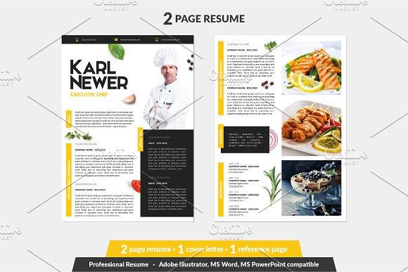 Executive Chef Resume Template Resume Templates Creative Market