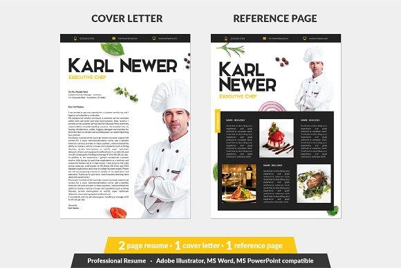 Executive Chef Resume Template Creative Illustrator Templates Creative Market
