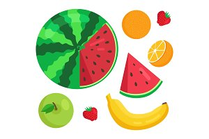 Fruits Collection Summer Set Vector Illustration