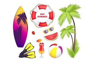 Hot Summer Collection of Items Vector Illustration