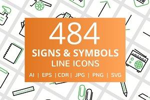 484 Signs & Symbols Line Icons
