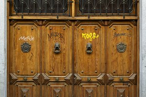 Four ancient doors, painted graffiti